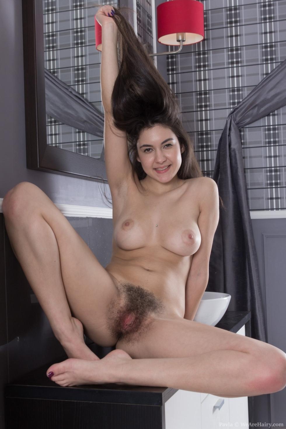 WeAreHairy Pavla: Pavla strips naked by her wash basin